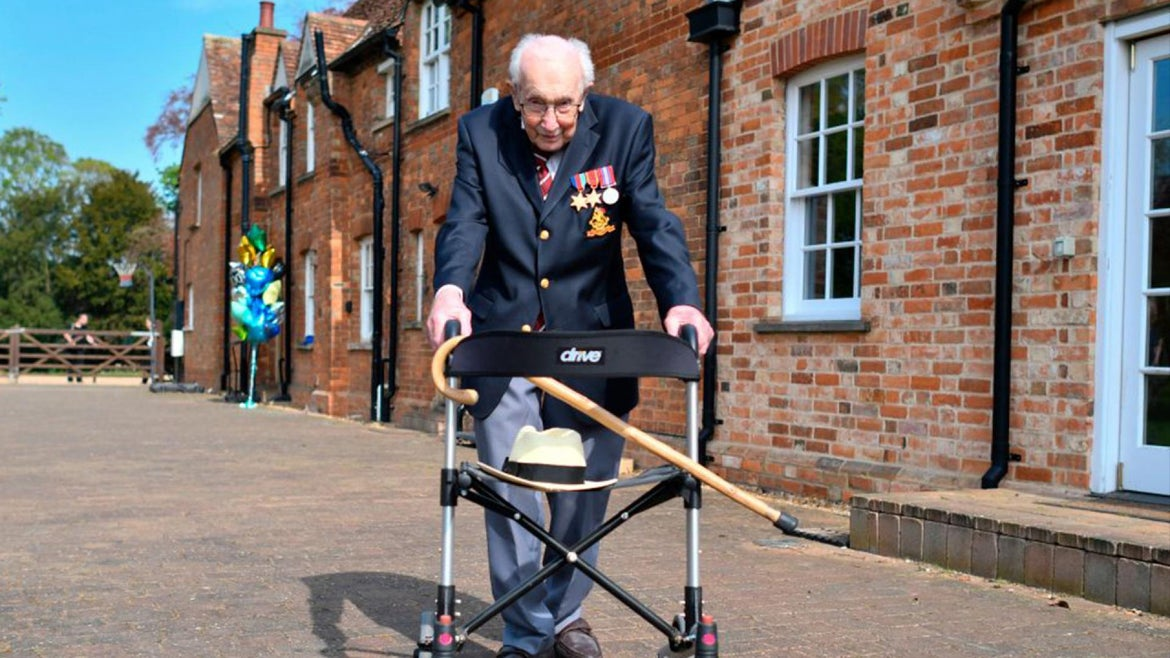 Tom Moore raised millions ahead of his 100th birthday by doing laps around his garden in his walker.