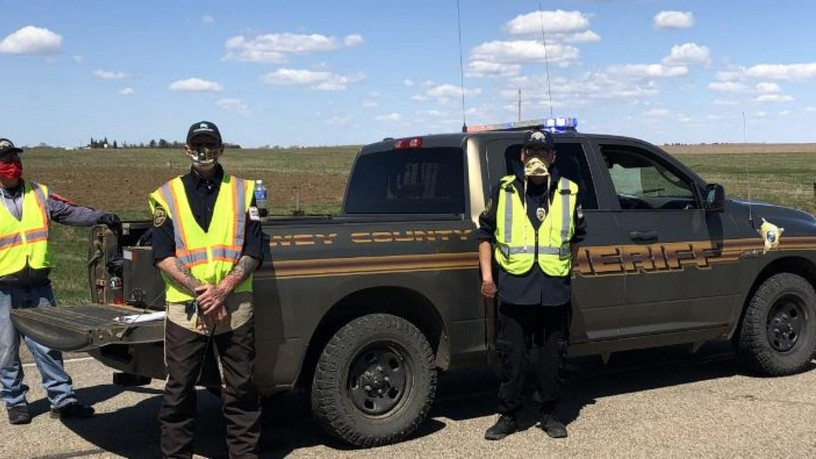 A traffic checkpoint on the Cheyenne River Sioux Reservation.