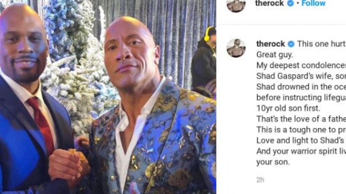 Dwayne Johnson paid tribute online to Shad Gaspard.