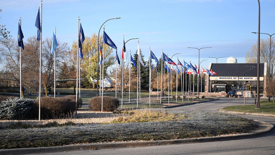 The main gates to the entrance of the Grand Forks Air Force Base, North Dakota.