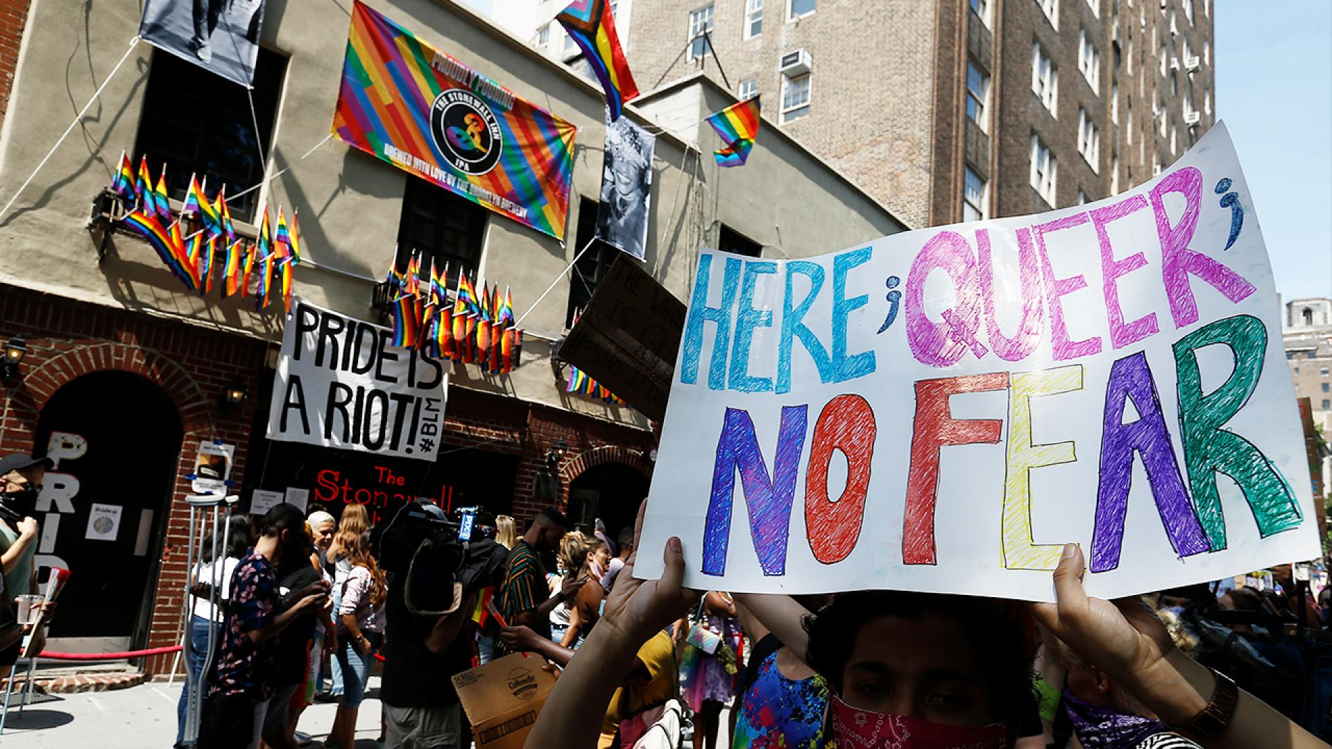 LGBTQ and Black Lives Matter protesters took the streets, despite the city's Pride Parade going virtual this year in light of the coronavirus.