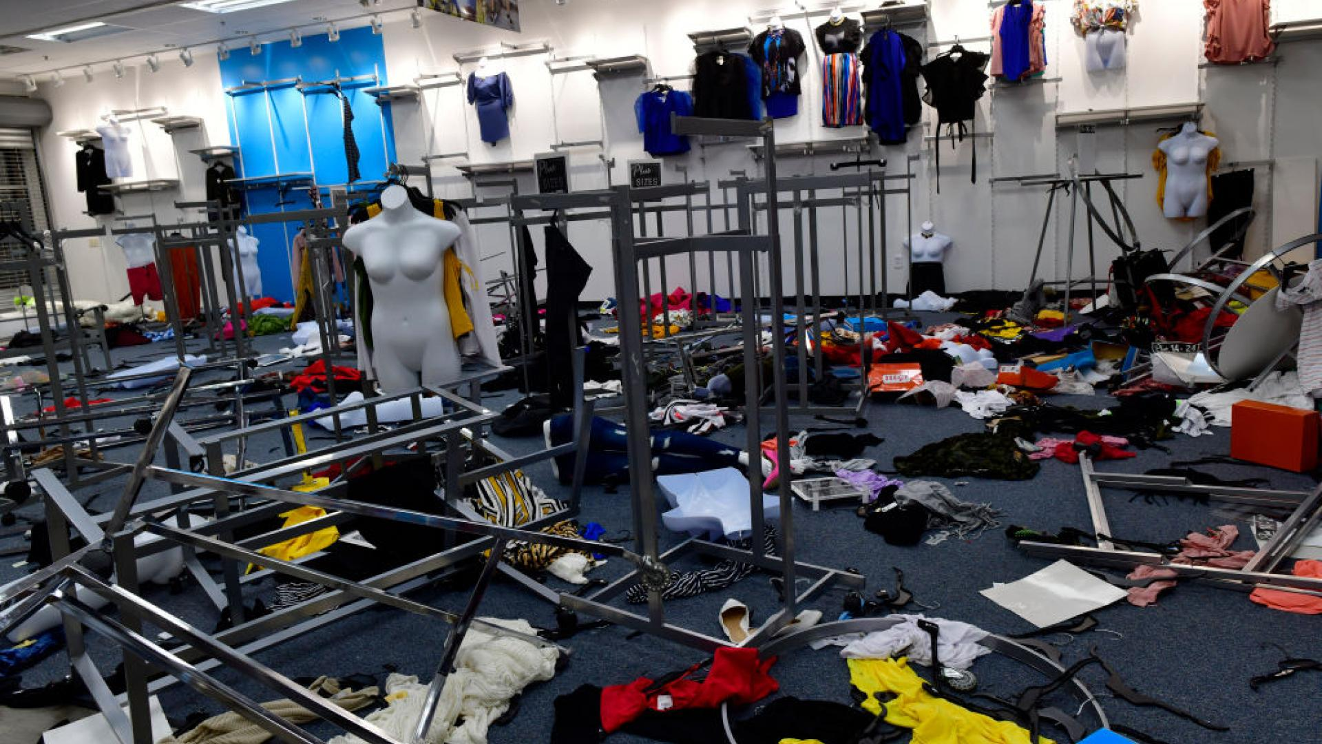 A looted clothing store in Philadelphia.
