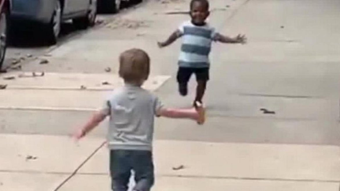 Trump's tweet manipulated this viral video of two toddlers greeting each other.