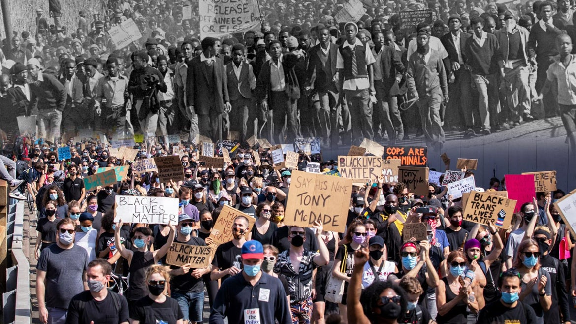 A split image of Soweto Uprising and Black Lives Matter protests in Brooklyn.
