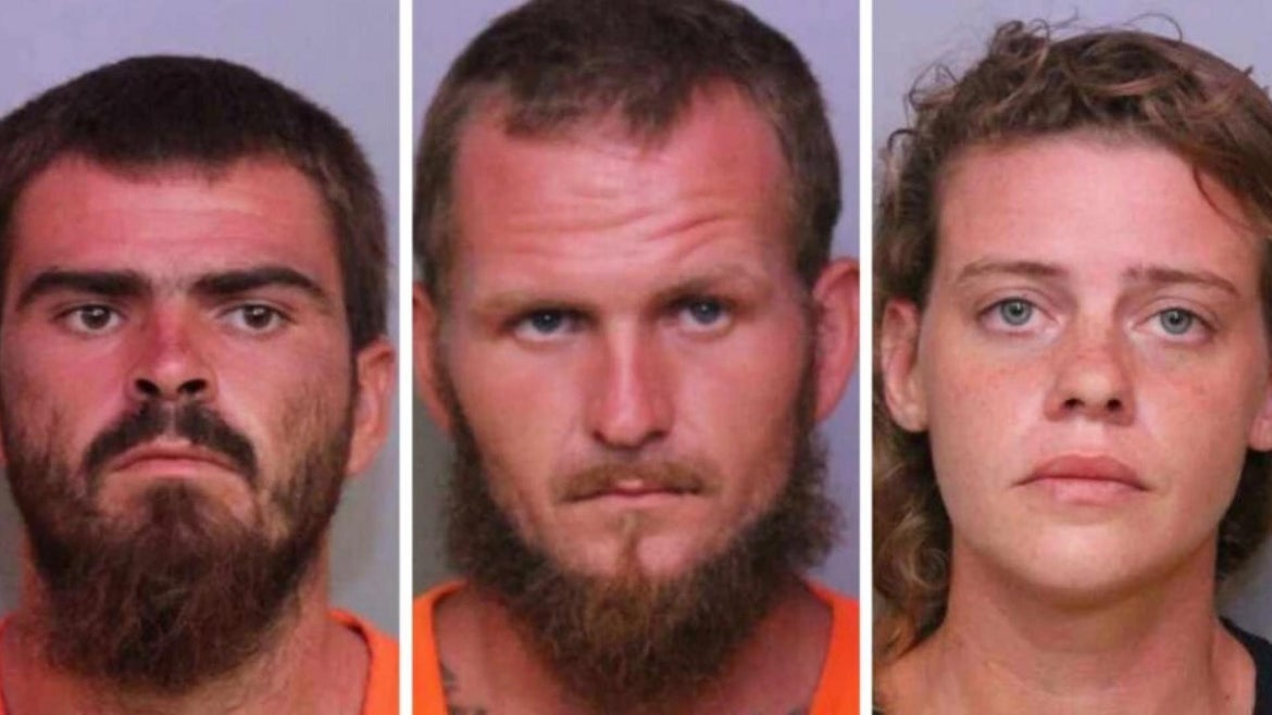 Three people have been arrested in the 'massacre' of a trio of friends on a fishing trip.