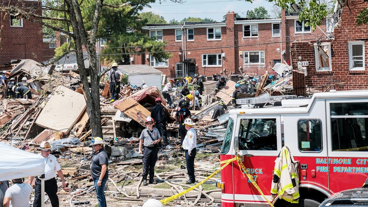 An explosion rocked a Baltimore neighborhood Monday morning.