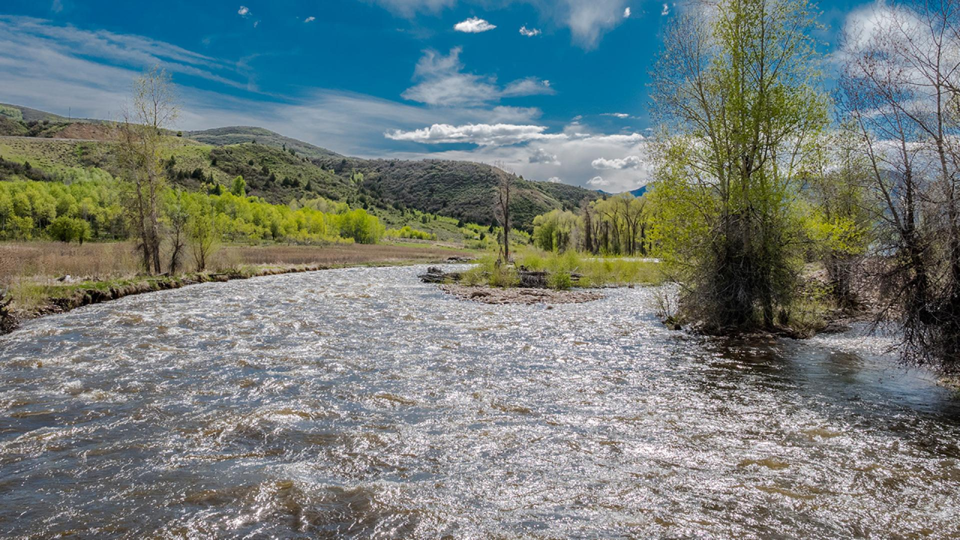 Sparkling, flowing water of the Provo River in Wasatch County, Utah.
