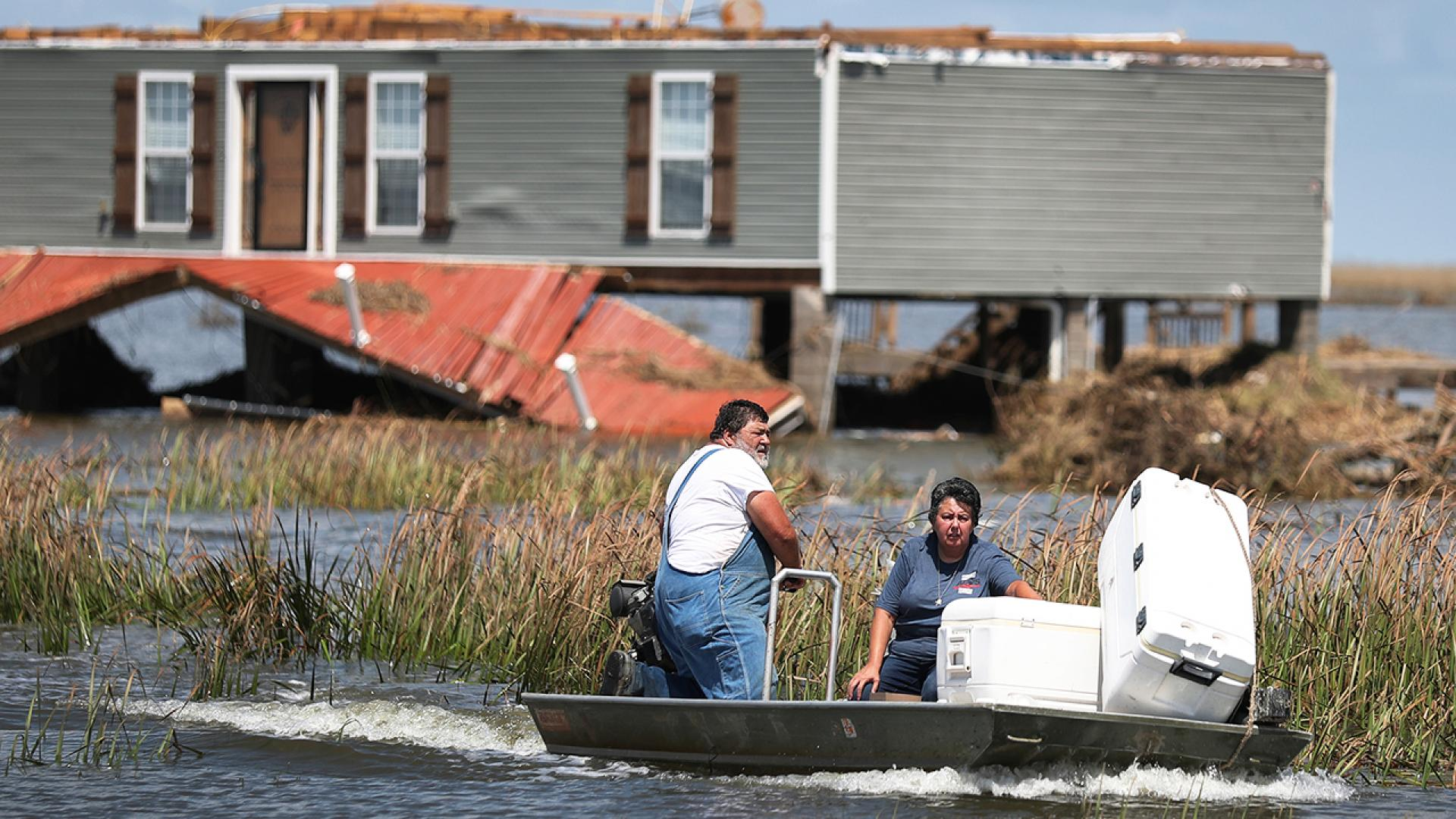 Anthony Vincent and Mary Vincent of Little Chenier who used their boat to rescue food from their freezer after Hurricane Laura hit their home, are just some of the many Louisianians still displaced following last week's storm.