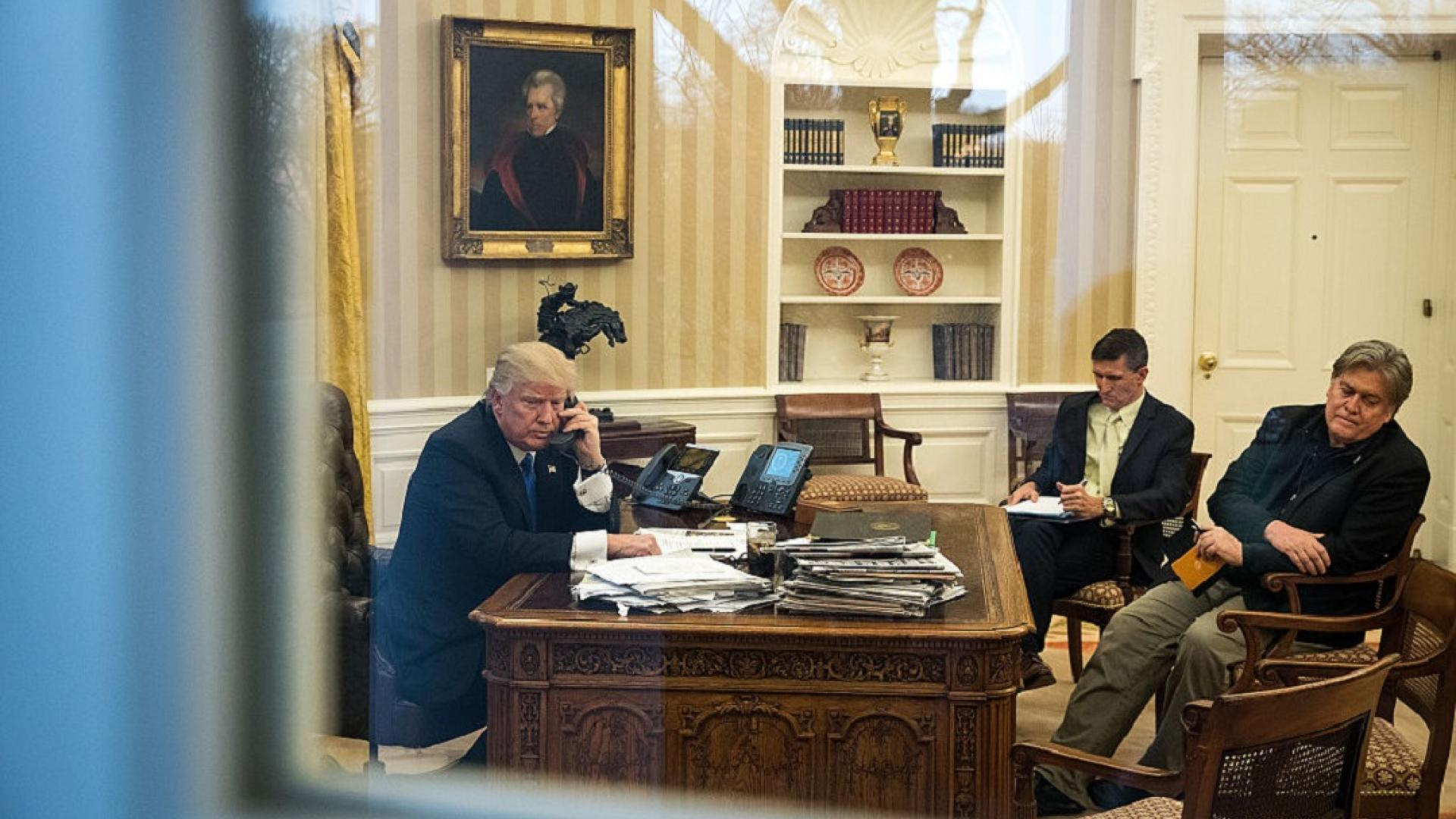 Steve Bannon in the Oval Office with President Trump.