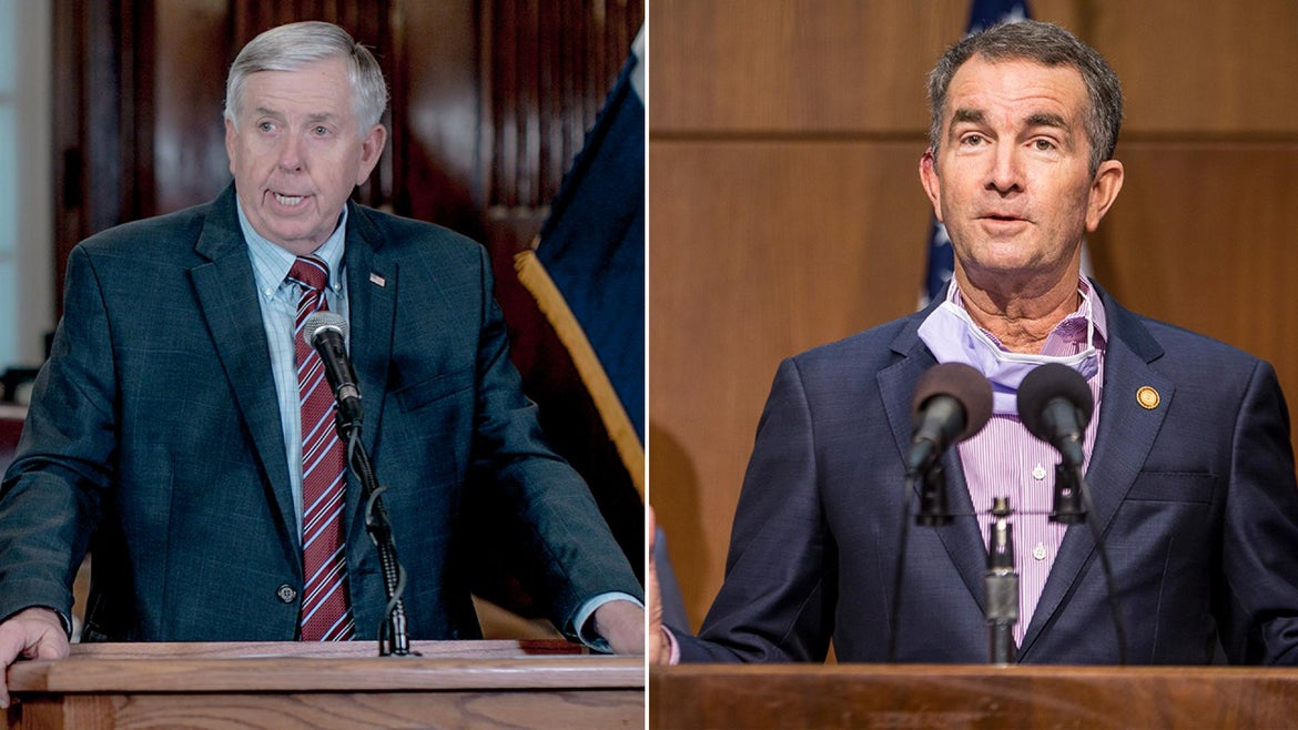 Governors Mike Parson (L) and Ralph Northam (R) both have tested positive for coronavirus.