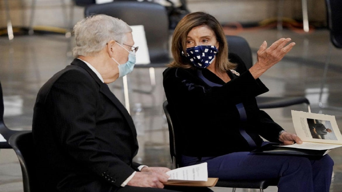 Mitch McConnell and Nancy Pelosi at July memorial for Rep. John Lewis.