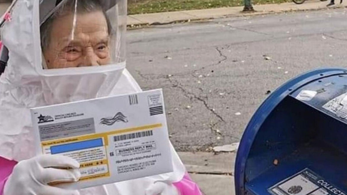102-year-old, Bea Lumpkin casts her mail-in ballot