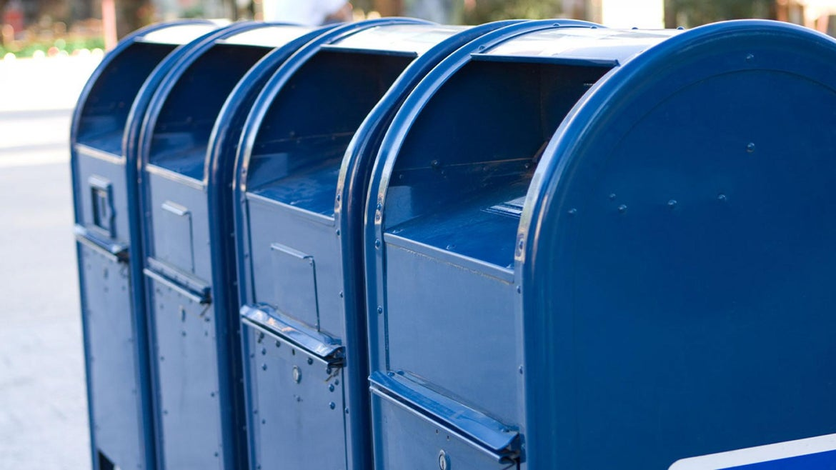 Mailboxes lined up