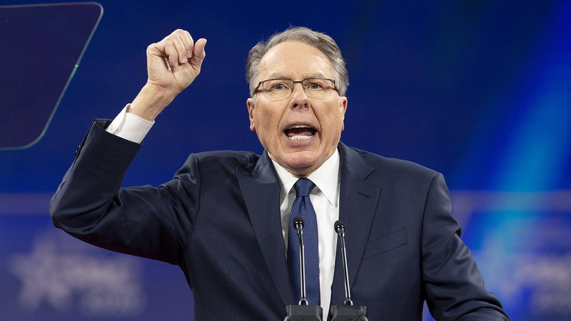 Wayne LaPierre, chief executive officer of the National Rifle Association (NRA), speaks during the Conservative Political Action Conference (CPAC) in National Harbor, Maryland, U.S., on Saturday, Feb. 29, 2020.