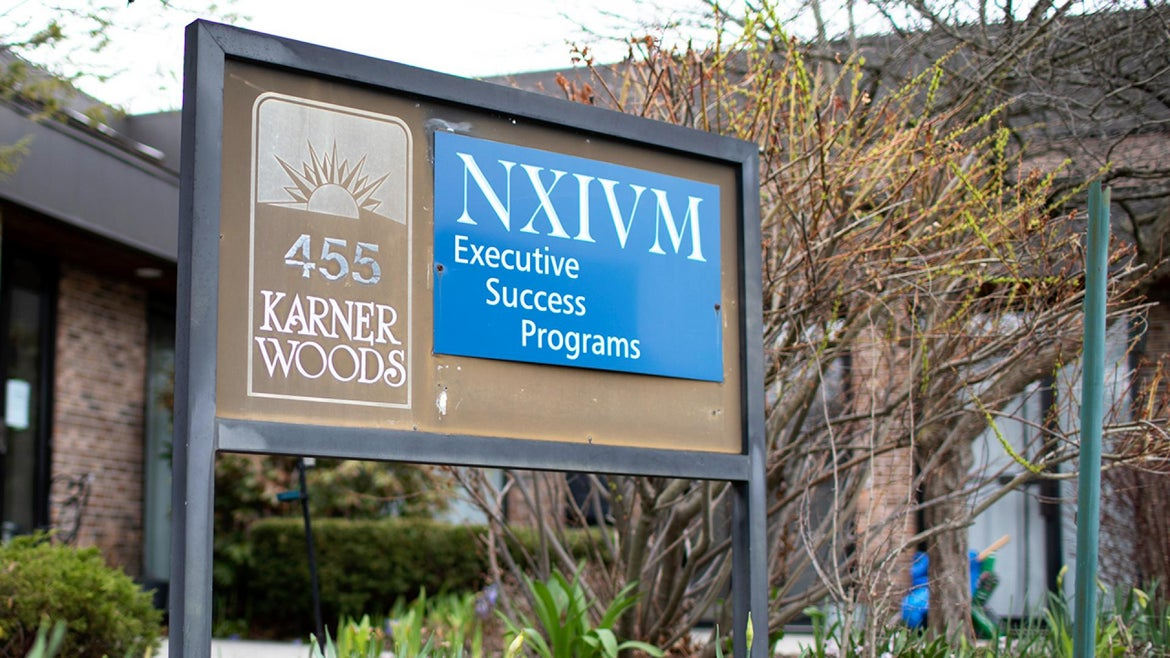 A sign from NXIVM's headquarters in Albany, New York.