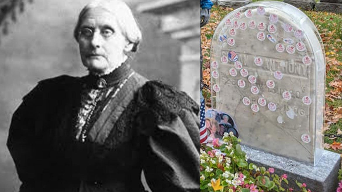 """""""I Voted Today"""" stickers on famed suffragist's headstone, Susan B. Anthony"""