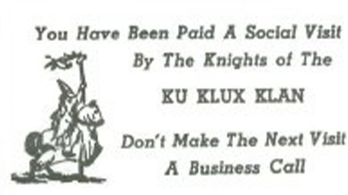 Card from the Ku Klux Klan