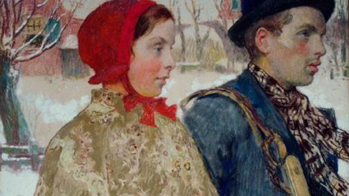 """The painting, """"Winter"""" by American artist Gari Melchers was part of a cache of art seized by the Nazis."""