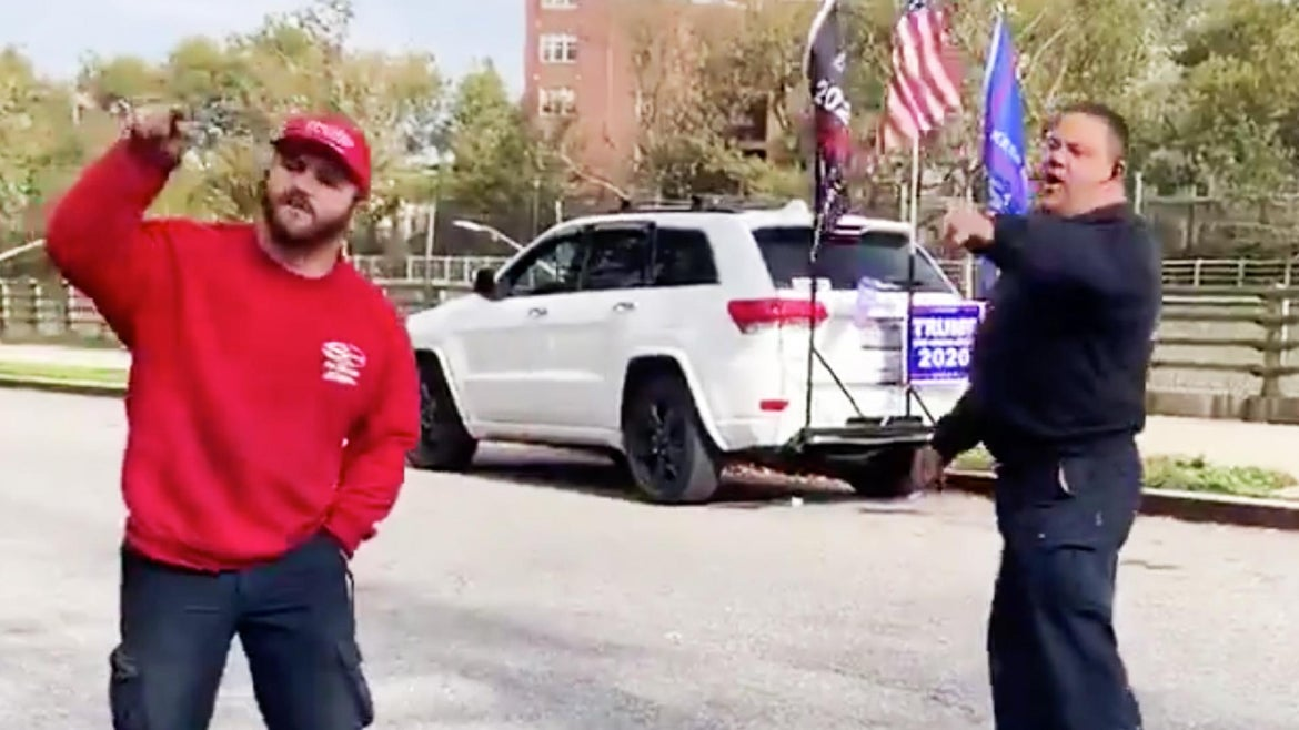 Kathy Park Price recorded as a Trump supporter allegedly threatened a man at a polling place in Brooklyn, New York.