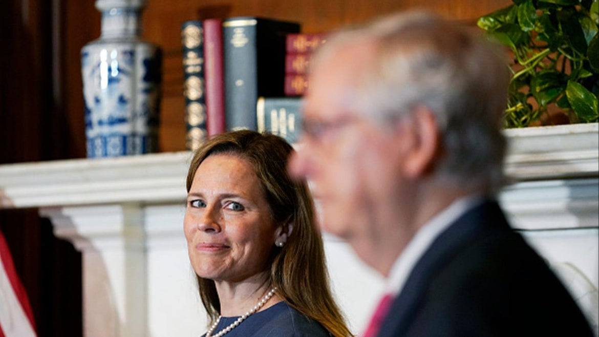 US Supreme Court Justice Amy Coney Barrett and Sen. Majority Leader, Mitch McConnell (R-Ky)