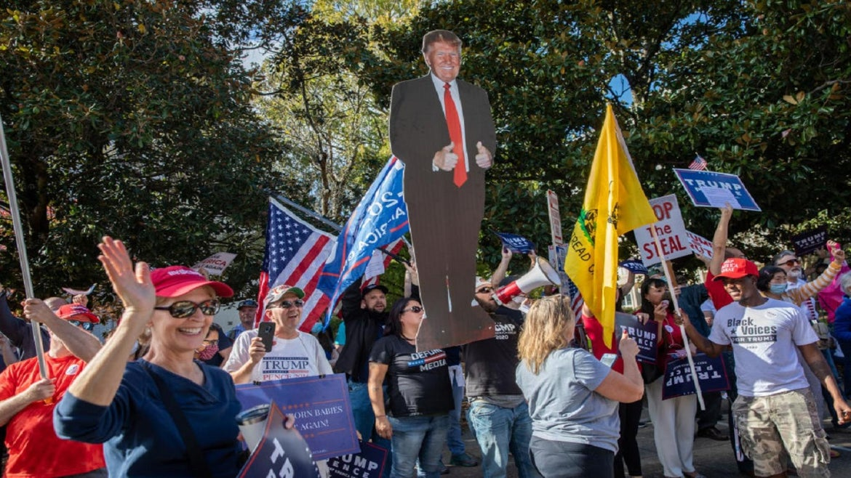 Pro-Trump demonstrators in North Carolina over the weekend.