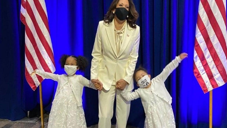 The grandnieces of Kamala Harris wore matching white dresses.