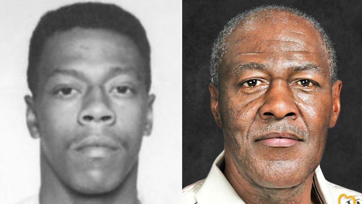 Left: Photo of Lester Eubanks as a prisoner, Right: Computer generated image of what Eubanks may look like now.
