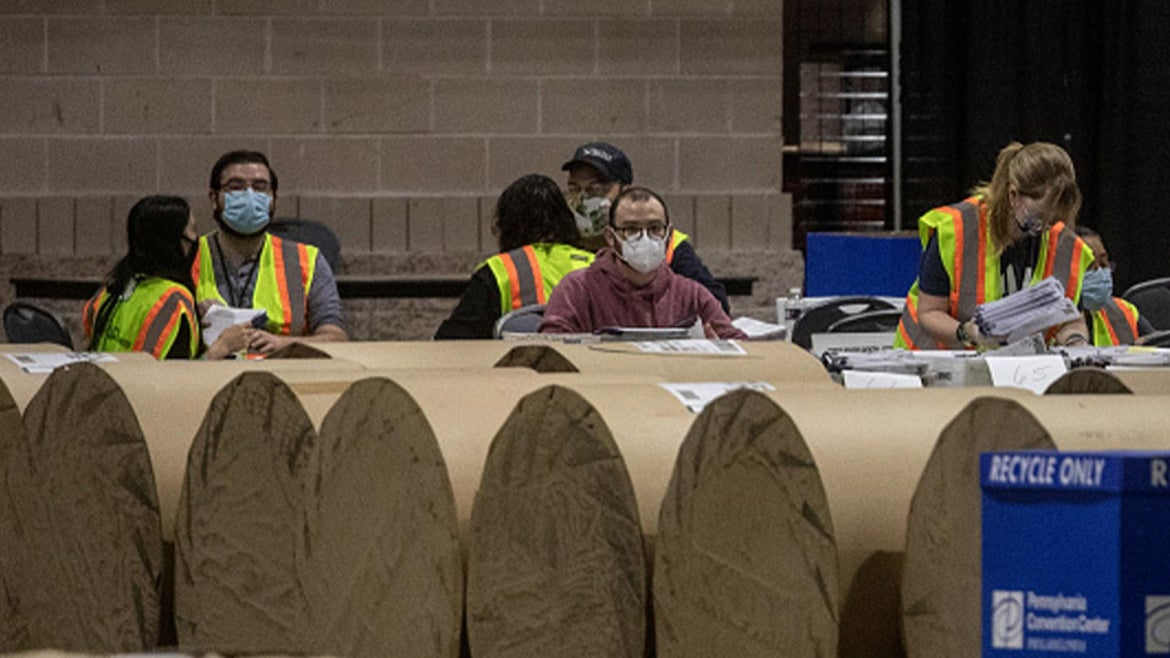 Philadelphia Election Workers Counting Ballots