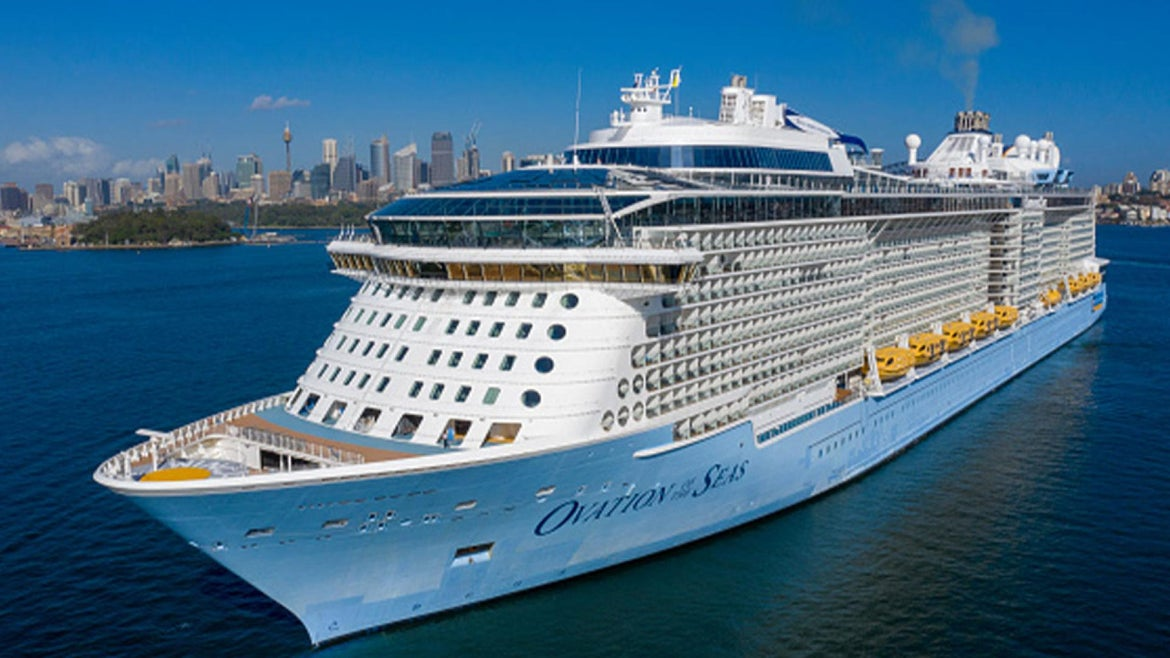 One of Royal Carribean's cruise ships: Ovation of the Seas pictured here.