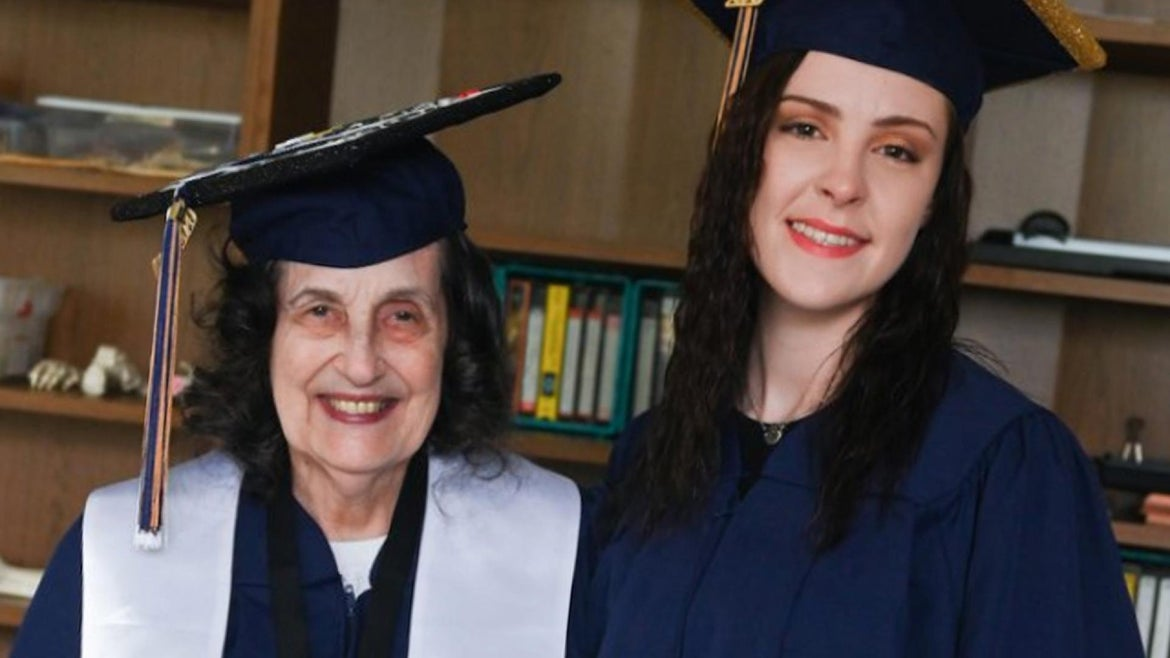 A 22-year-old woman graduated college alongside her 74-year-old grandma, whom she convinced to go back to school after retirement.