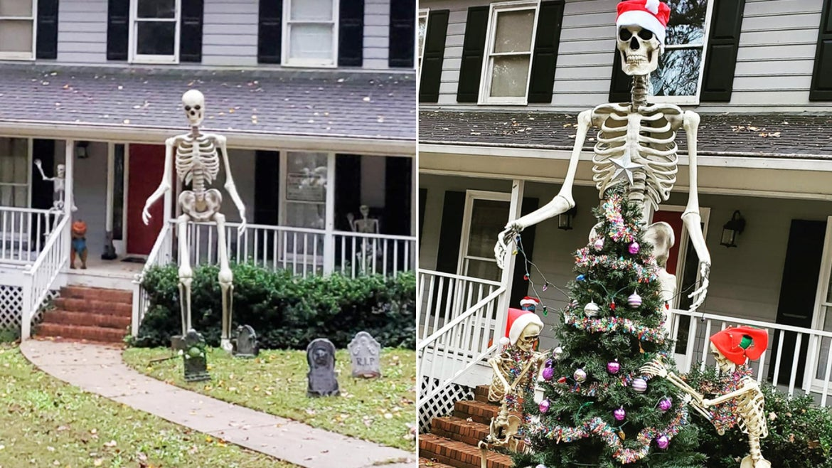 A 12-foot skeleton ended up part of Tracy Gilbert's Christmas display after she couldn't find space to store it after Halloween.