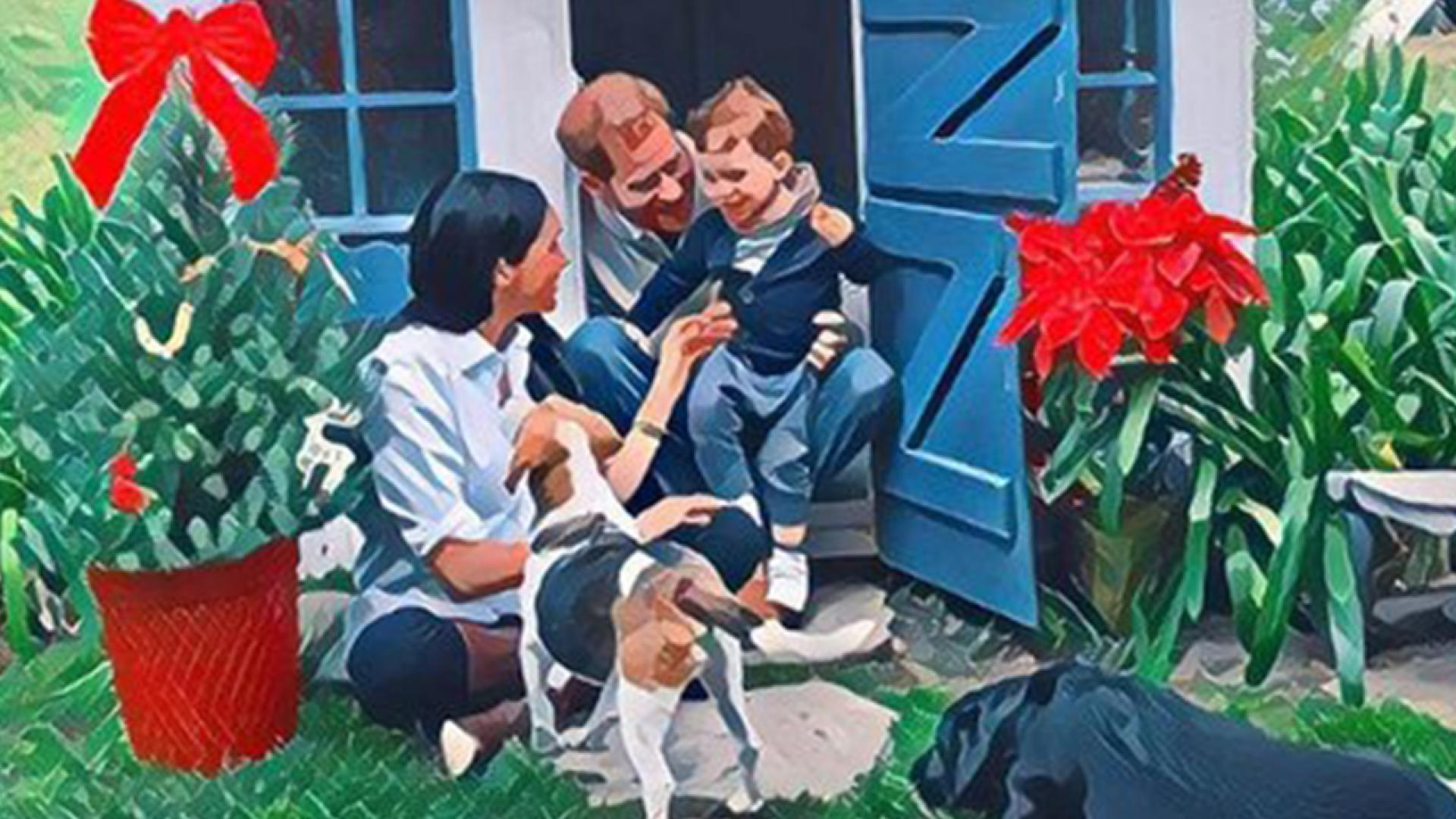 Meghan Markle, Prince Harry, Archie and their dogs appear in a Christmas card promoting animal adoption.