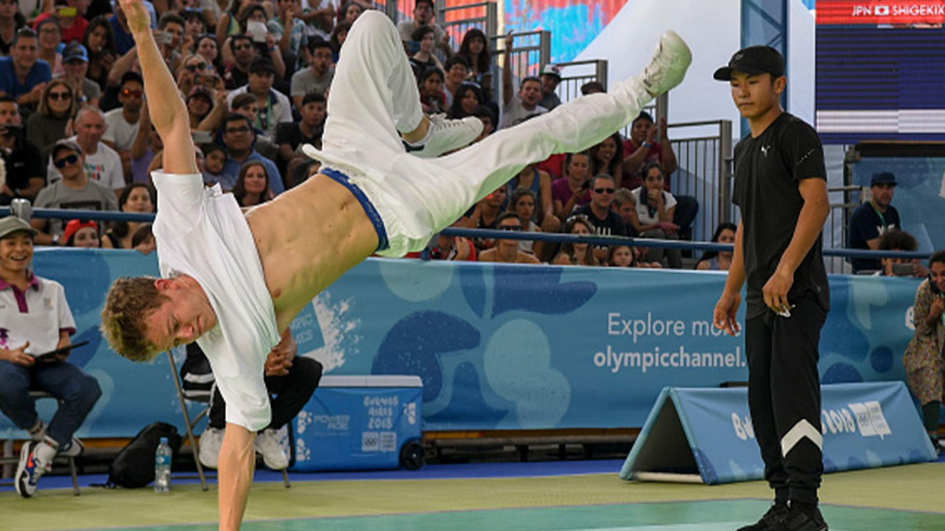 Russia's b-boy Bumblebee (L) competes against Japan's b-boy Shigelix during a battle at the Youth Olympic Games in Buenos Aires, Argentina on October 08, 2018.