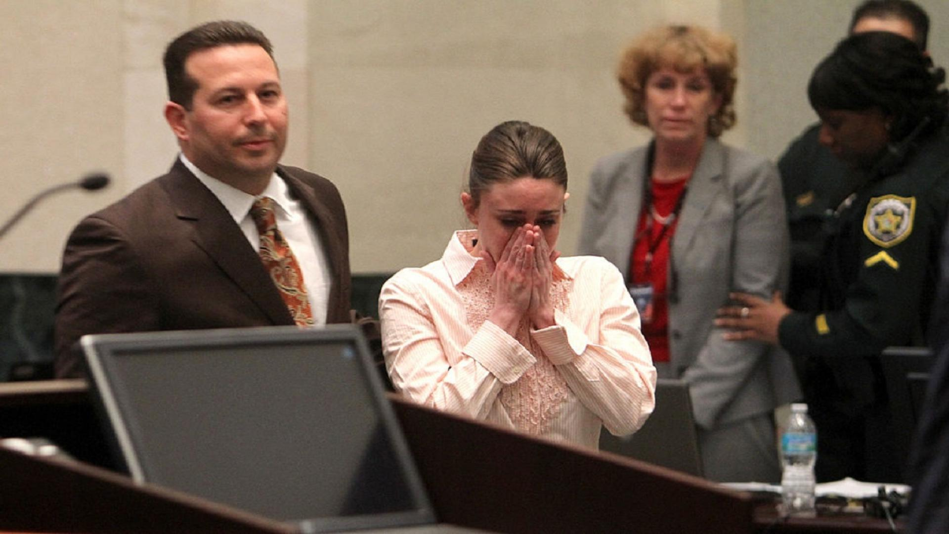 Casey Anthony at her 2011 acquittal of murder and abuse charges in the death of her daughter, Caylee.