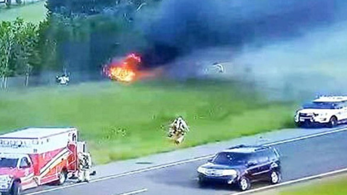 The fire that engulfed the vehicle of retired Lt. Richard Broccolo on Aug. 23, 2020