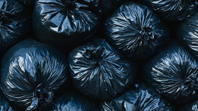 Pile of black garbage bags