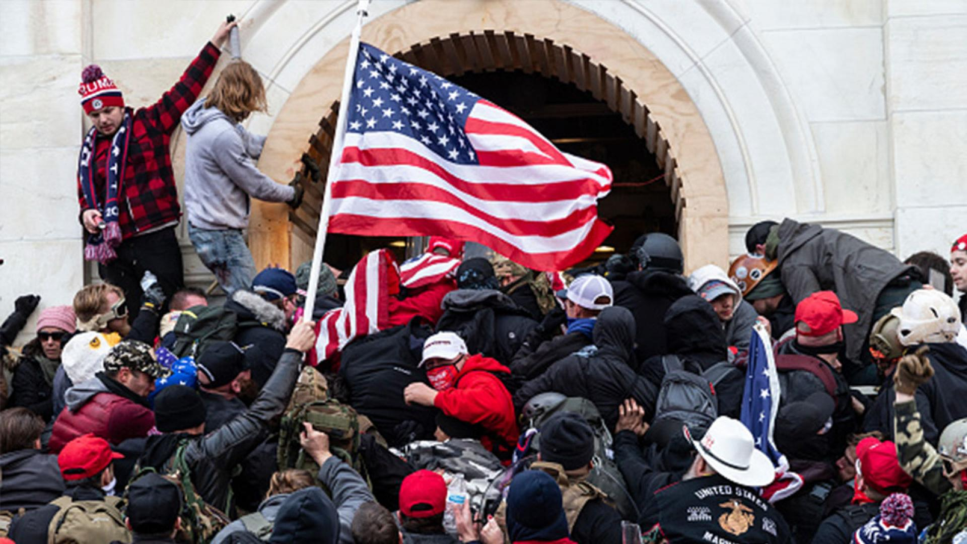 Scene of rioters pushing their way into the Capitol, Washington, D.C.