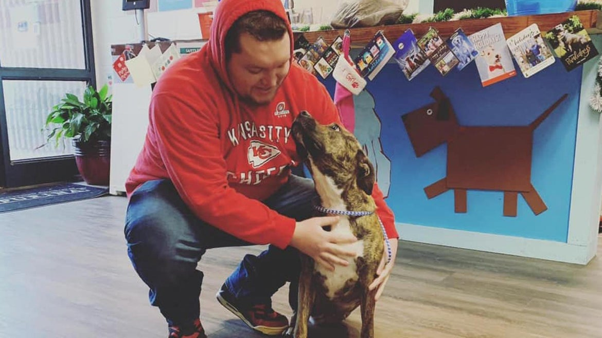 Dylan Summers reunited with his dog Athena