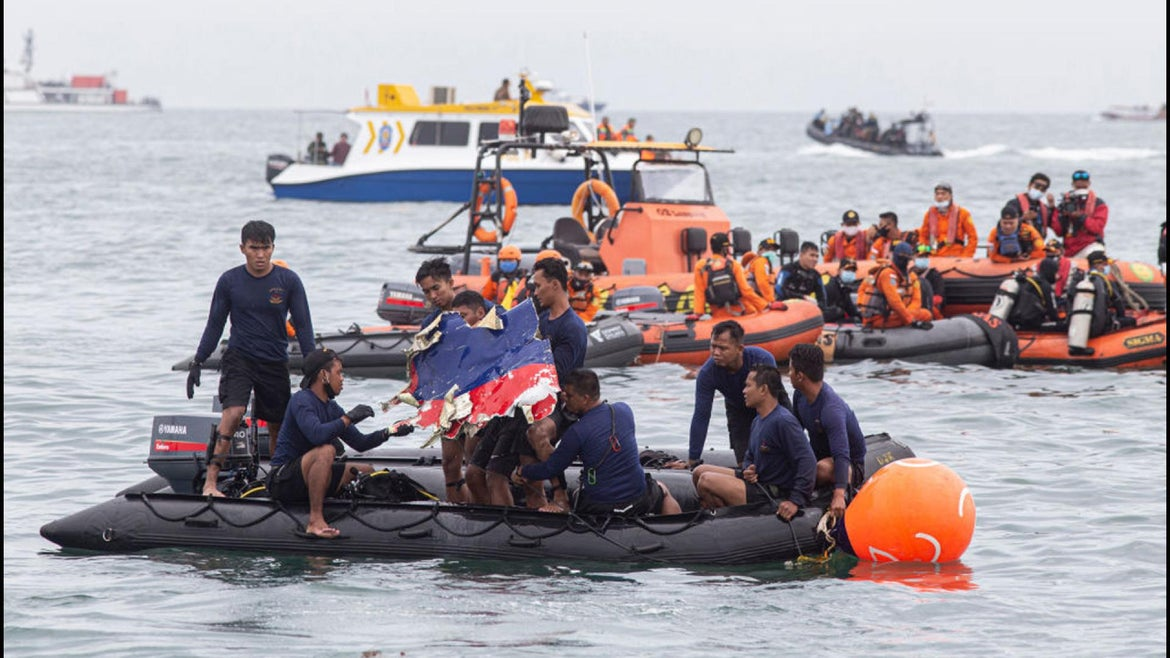 Indonesia Rescue team find part of a Sriwijaya airplane on January 10, 2021 in Jakarta, Indonesia