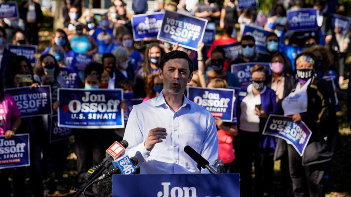 Jon Ossoff holds a campaign event at Grant Park on Friday, Nov. 6, 2020 in Atlanta, GA