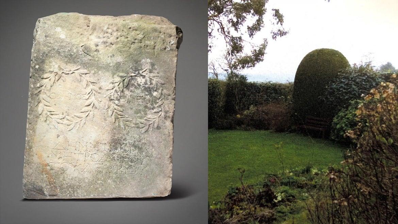 A woman found an ancient marble slab in her garden in Whiteparish