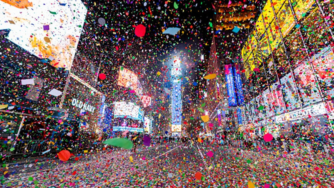 A quiet Times Square on New Year's Eve