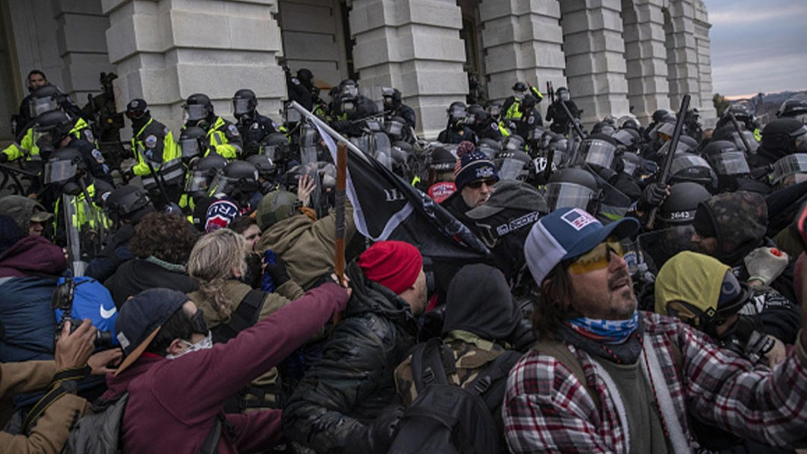 The breach of the U.S. Capitol building in Washington, D.C. on Jan 6.
