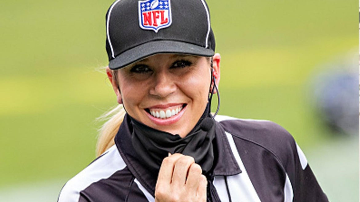 Down Judge Sarah Thomas smiles for the camera before a game between the Pittsburgh Steelers and the Tennessee Titans at Nissan Stadium on October 25, 2020 in Nashville, Tenn.
