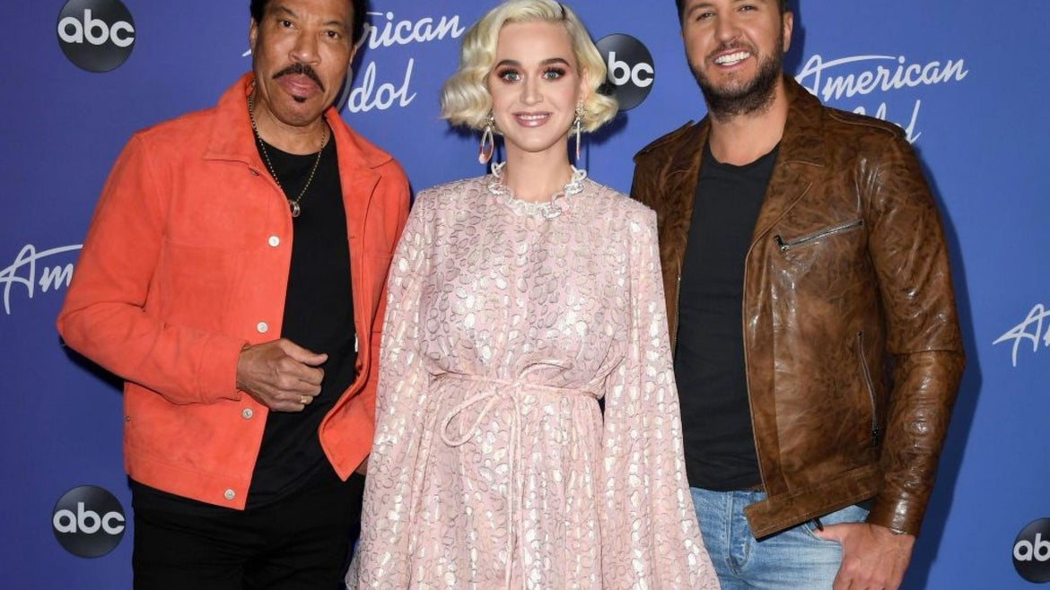 """Lionel Richie, Katy Perry and Luke Bryan attend the premiere event for """"American Idol"""" hosted by ABC at Hollywood Roosevelt Hotel on February 12, 2020"""