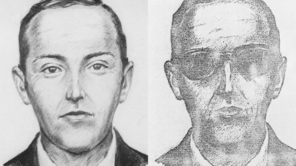 """The FBI released 11/27, this artist's drawing of """"D. B. Cooper,"""" the suspected skyjacker, who parachuted from a Northwest Airlines 727 jet after collecting $200,000 ransom in Seattle."""