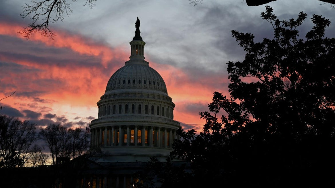 The U.S. Capitol is seen as the sun set December 30, 2020 in Washington, DC