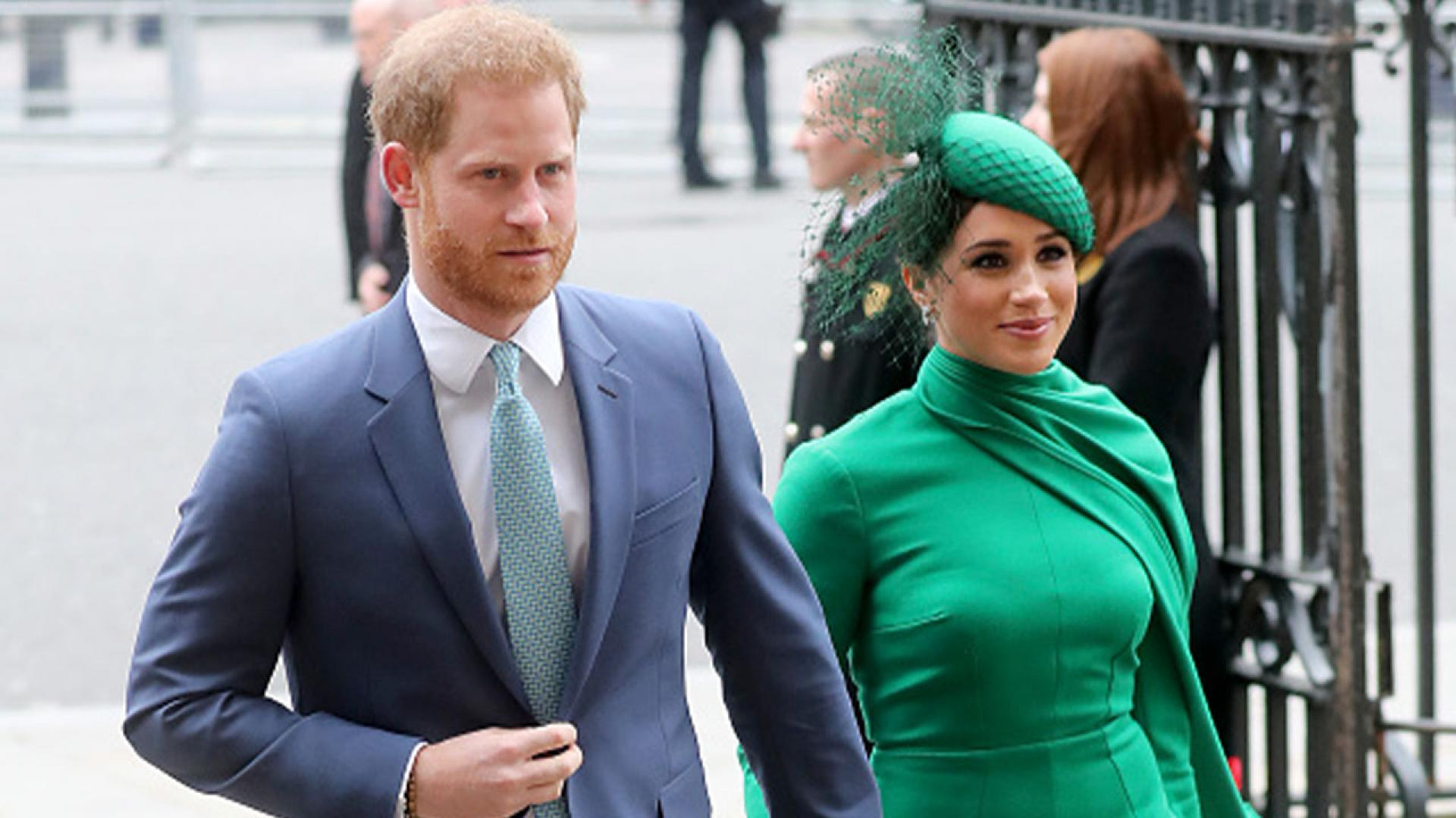Prince Harry and Meghan Markle attending a 2020 Commonwealth Day Service event.