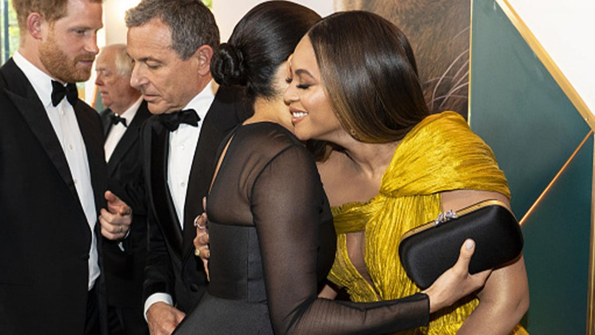 """Meghan Markle and Beyonce at 2019 premiere of """"The Lion King."""""""