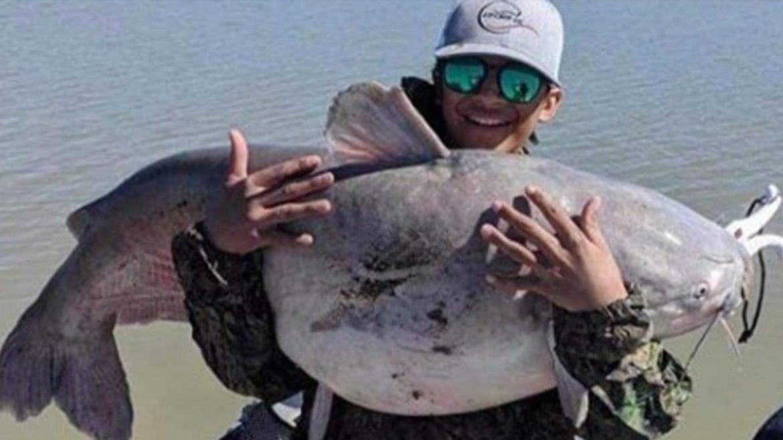 Alonso Ordaz holds 55-lb. catfish